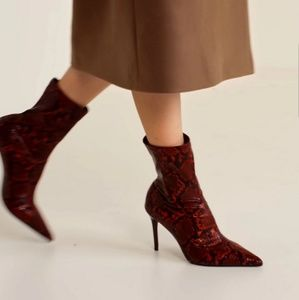 Mango red snake effect boots